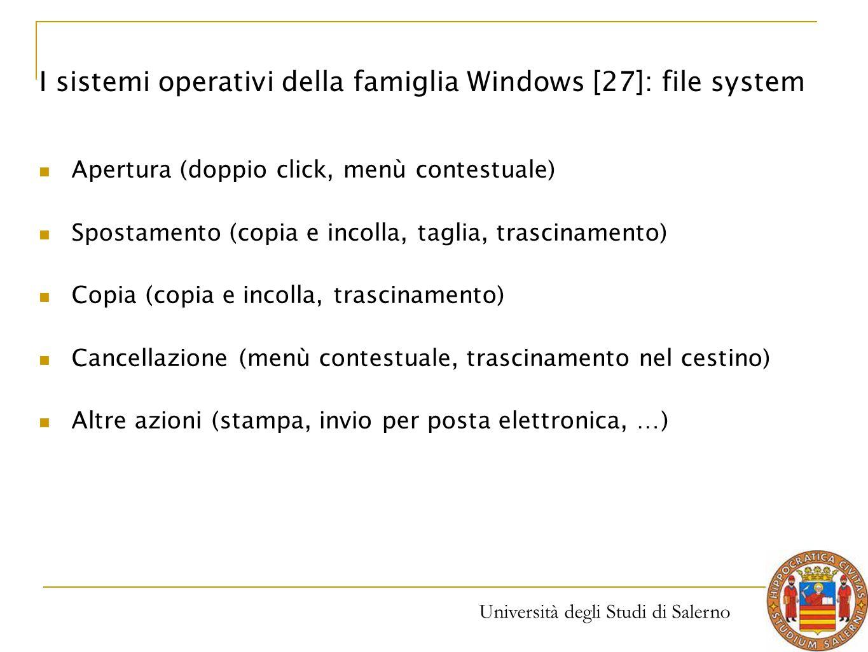 I sistemi operativi della famiglia Windows [27]: file system